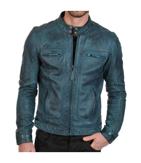 Men's Waxed Green Motorcycle Leather Jacket