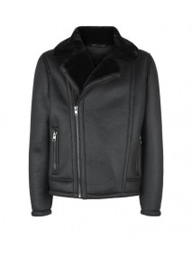 Black Leather Mens Aviator Shearling Jacket