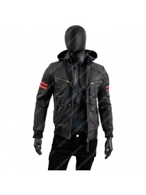 Mens Black Leather Motorcycle Hooded Jacket