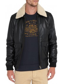 Men's Bomber Black Leather Fur Collar Jacket