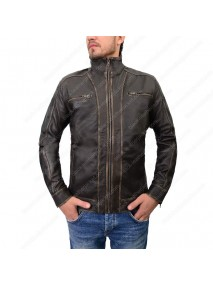 Mens Distressed Dark Brown Café Racer Leather Jacket