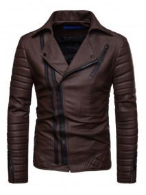 Brown Mens Zipper Leather Jacket