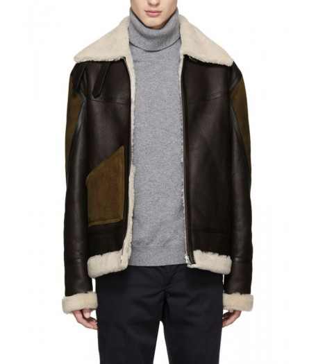 Brown Leather Men Ivory Shearling Collar Jacket
