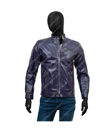Casual Mens Purple Leather Jacket
