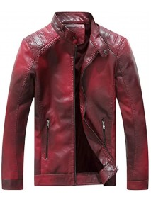 Casual Mens Red Leather Jacket