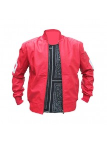 8 Ball Pink Leather Bomber Jacket