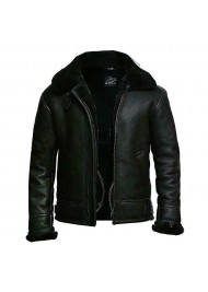 Men's Black Aviator Bomber Jacket