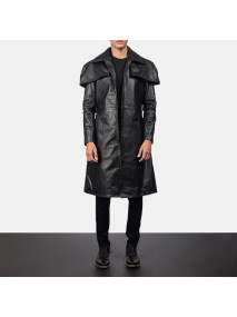 Mens Black Leather Duster