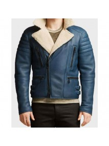 Men's Blue Shearling Leather Jacket