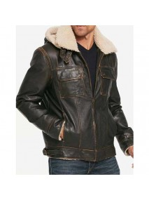 Men's Brown Waxed Hooded Aviator Jacket