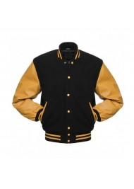 Men's College Black and Yellow Varsity Bomber Jacket