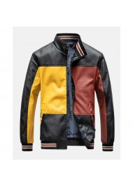 Men's Color Block Leather Jacket