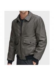 Mens Genuine Grey Leather Bomber Jacket