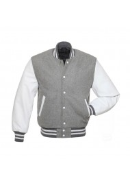 Men's Grey Varsity Wool/Leather Jacket