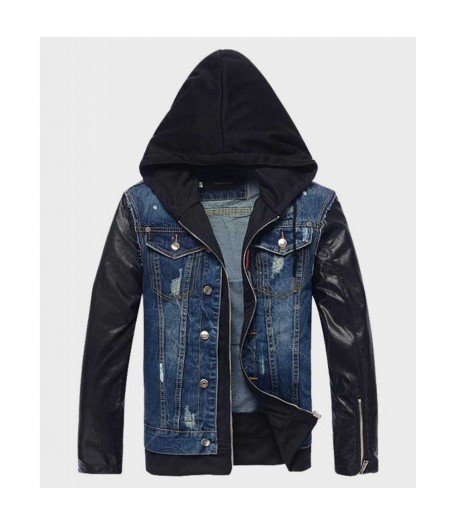 Mens Hooded Leather Denim Jacket