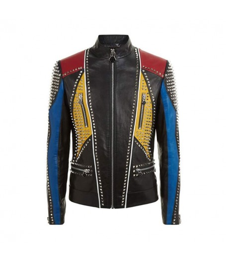 Mens Multicolor Studded Slimfit Leather Jacket
