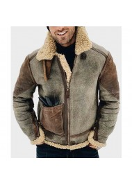 Mens Shearling Genuine Leather Jacket