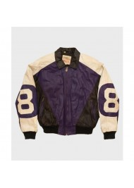 Michael Hoban Purple and Black Leather 8 ball Jacket