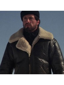 Sylvester Stallone Shearling Bomber Aviator Leather Jacket