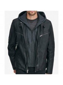 William Removable Knit Hood Faux Leather Jacket