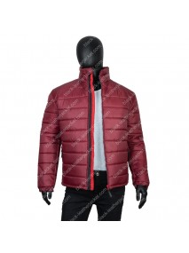 Mens Burgundy Down Puffer Quilted Jacket