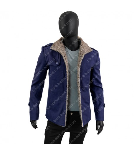 Mens Single Breasted Blue Shearling Wool Jacket