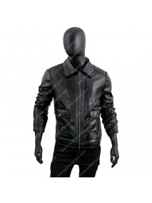 Mens Slimfit Zipped Black Jacket
