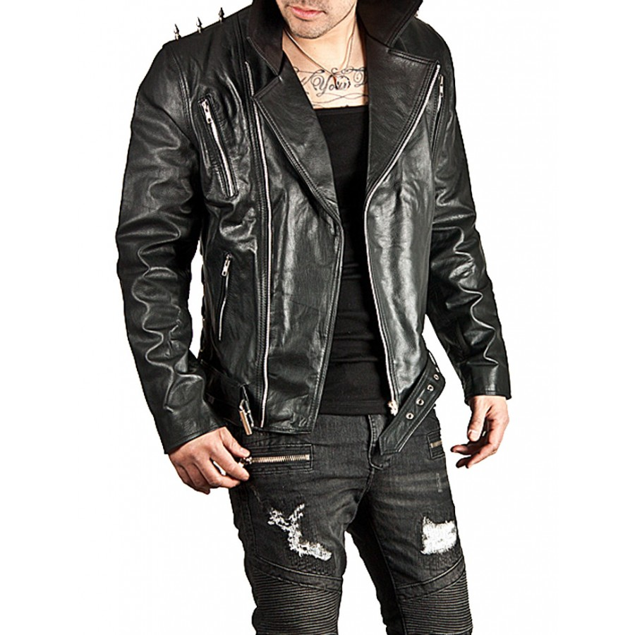 558182529 Ghost Rider Spiked Black Leather Motorcycle Jacket