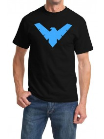 Blue Nightwing Logo Black T-Shirt