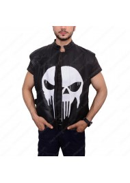 Punisher War Zone Black Leather Vest