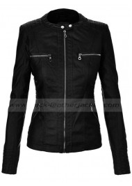 Slim Fit Black Faux Leather Jacket for Women