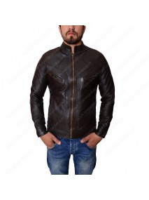 Mens Multiple Pocket Dark Brown Slimfit Leather Jacket