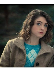 Natalia Dyer Stranger Things Brown Coat
