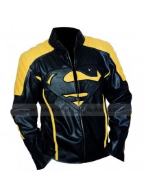 Superman Smallville Black and Yellow Leather Jacket
