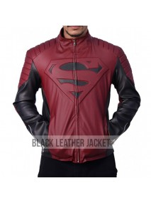 Superman Smallville Maroon and Black Leather Jacket