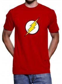 White and Yellow The Flash Logo Red T-Shirt