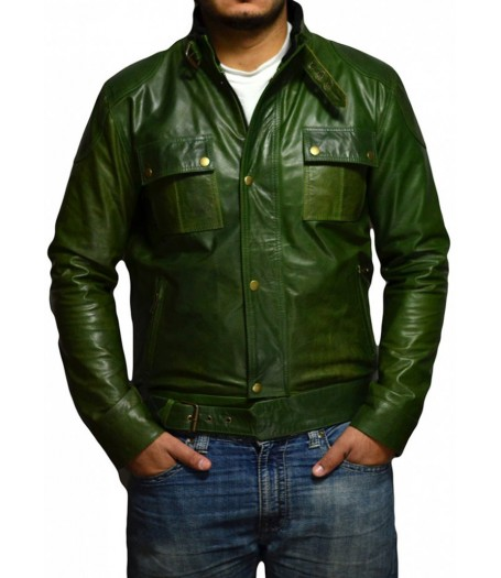 The Wanted Olive Green Wesley Gibson Leather Jacket