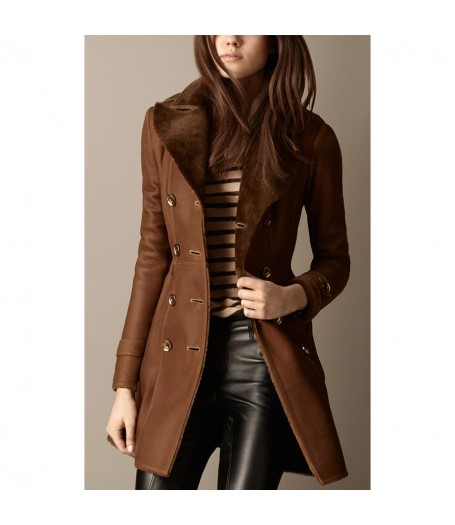 Womens Brown Double Breasted Lapel Collar Trench Coat