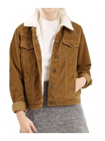Womens Corduroy Shearling Brown Jacket