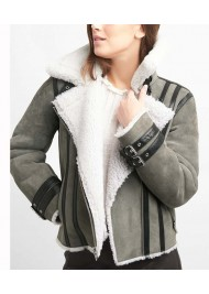 Womens Grey Suede Leather Shearling Biker Jacket