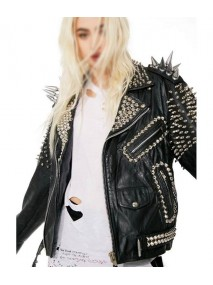 Black Vintage Womens Spike Leather Jacket