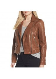 Womens Brown Motorcycle Leather Jacket