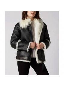 Aviator Black And White Shearling Jacket