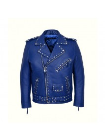 Blue Studded Motorcycle Leather Jacket