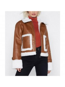 Brown Cropped Aviator Leather Jacket