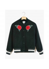 Green Rose Embroidered Varsity Jacket
