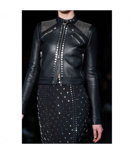 Womens Black Leather Silver Studded Jacket
