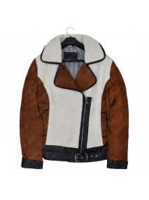 Women Suede And Shearling Half Zip Biker Jacket